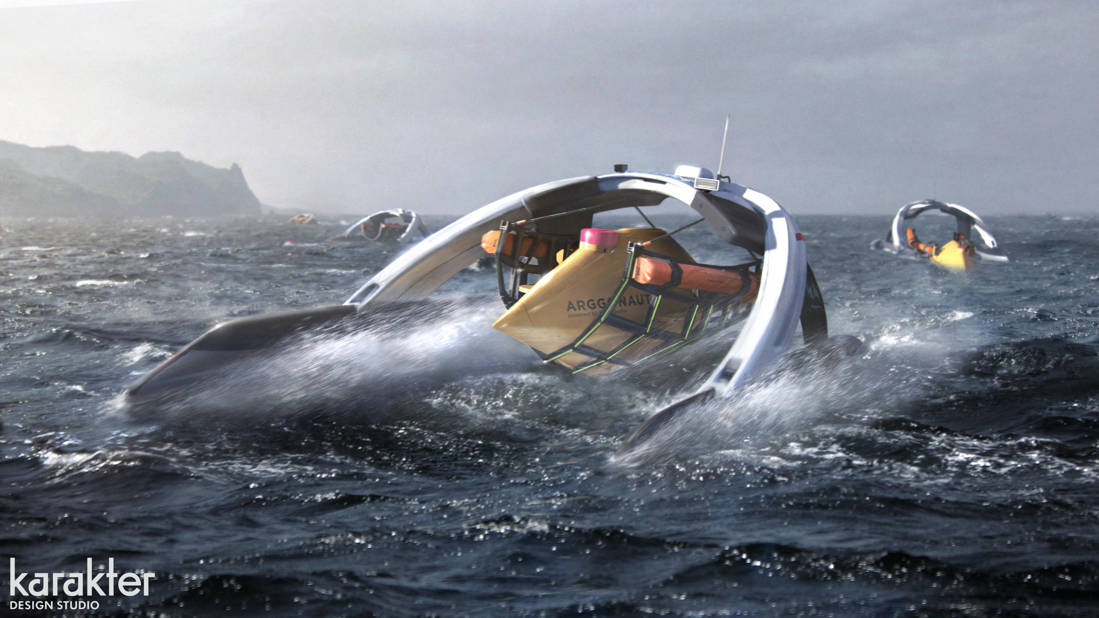 Tauchroboter an der Meeresoberfläche